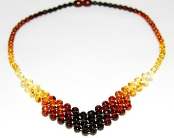Luxury Baltic amber necklace, rainbow color round faceted beads 61