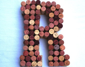 Wine Cork Letter made from real wine stained corks! Any letter A - Z. Wedding Gift, Anniversary Gift, housewarming gift or Monogram Initials