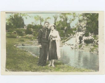 Sailor & Sweetheart with Hand-Tinted Gardens Backdrop, c1930s-40s Vintage Photo Snapshot [56381]
