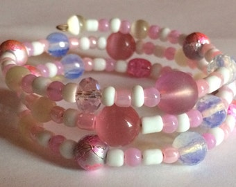 "Colorful ""In the Pink"" Beaded Memory Wire Bracelet"