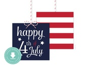 INSTANT DOWNLOAD 4th of July Favor Tag (4th of July Party, Patriotic Baby Shower, Patriotic Favor Tags, Stars and Stripes, July 4th)