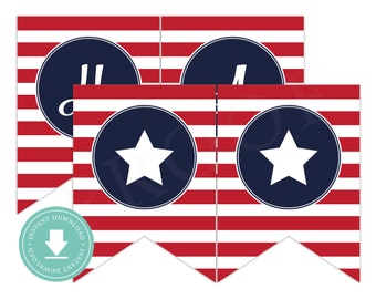 INSTANT DOWNLOAD Happy 4th of July Banner (4th of July Party, July 4th Banner, Patriotic Banner, July 4th Party)