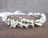 Floral Crown, Winter Wedding Crown, Flower Girl Crown, Bridal Headpiece, White Flower Crown, Flower Crown, Holiday Head Wreath