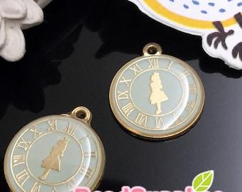 CH-ME-10197 - Gold plated  , Alice in Wonderland clock charm, pale aqua, 2 pcs