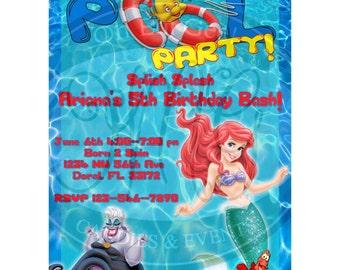 Little Mermaid Pool Party Invitation