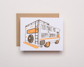 You Make Me a Happy Camper - Letterpress Card