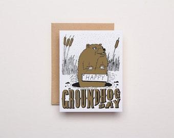 Happy Groundhog Day Card - Letterpress Card