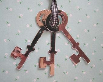 24 Keys Vintage Die Cut Paper Shape Silver Craft Skeleton Wedding Key Decor Supply Lot Tag Favor Scrapbook Junk Journal DIY Kit Lot