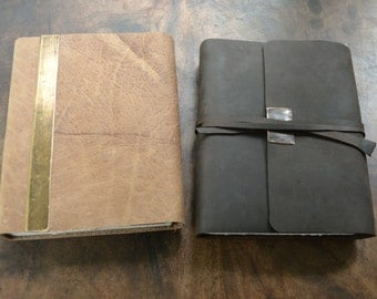 Collector Handmade to Order Color Lined Leather Bound Journal Set (431B)