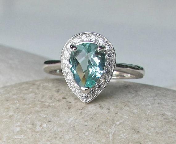 pear shape engagement ring halo green quartz promise ring