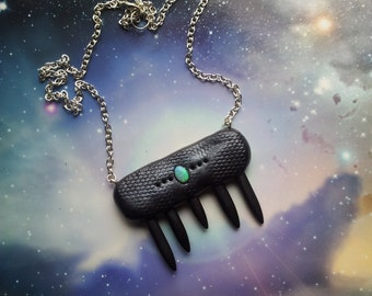 Black dragon skin necklace with howlite and opal