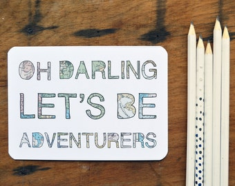 Oh darling let's be adventurers postcards (set of four)