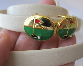"""Summer Resort Chic GOLF Designer Gold Belt Buckle.DOTTY Smith Sporty Buckle""""Add a Belt"""" 80s Style PAPPAGALLO Sign of Whale Style/Sports Belt"""