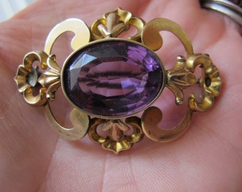"Amethyst Paste Antique 1890's 9kt Gold Brooch, Sash Buckle, or Neck Choker Element/ Art Nouveau Fashion Jewelry/""True Vintage"" Gold Fashion"