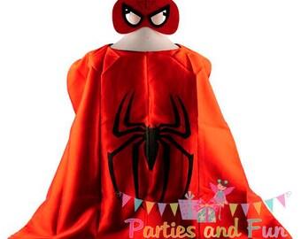 Superhero Cape, Spiderman Cape, Spiderman Mask, Spiderman Party Favors, Spiderman Birthday Party, Spiderman Birthday Favors