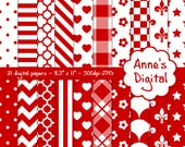 "Red and White Digital Papers - Matching Solid Included - 21 Papers - 8.5"" x 11"" - Instant Download - Commercial Use (064)"