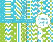 "Lime Green and Aqua Digital Papers - 22 Papers - 8.5"" x 11"" - Instant Download - Commercial Use (100)"