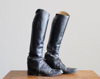 Vintage Black Leather Riding Boots