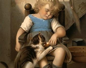 Sleeping girl Cat drinks milk from the bowl