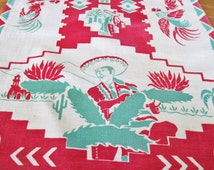 1950 Tea Towel Mexican Southwestern Sombrero, Cactus, Pottery, Fighting Roosters