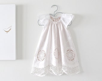Baby Girl Baptism Dress-Antique White Cotton Lace Christening Dress-Special Occasion Dress-flower girl dress-Clothing by Chasing Mini.