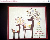 CIJ Merry Christmas Card with Two Deer and Decorated Antlers Holiday Cards Christmas Card
