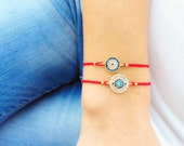 mother daughter jewelry, evil eye bracelet matching string bracelets, mom mommy and me, gift for mothers, best friend birthday, zircon