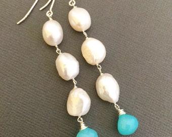 Long Gold Hoop earrings, Freshwater Pearl earring, Bridesmaid Jewelry, Long hoop, dangle earrings, Bridesmaid earrings