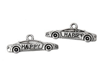 """10 Pieces Antique Silver Message """"Happy"""" Carved Car Charms"""