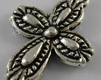 10 Pieces Pretty Antique Silver Cross Charms