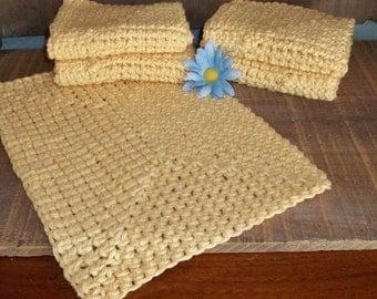 Crochet dishcloths, 5 yellow cotton dish cloths or washcloths, dish rags kitchen, cleaning, housewarming gift hostess gift unpaper towels