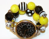 Bumblee Black and Yellow Chunky Beaded Watch, Interchangeable Watch, Narmi Watch Face, BeadsnTime, Unique Gift, Bumblee Charm