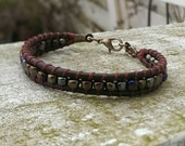 Wrap Leather Bracelet-brown with bronze, copper, silver rocailles-Bohemian style