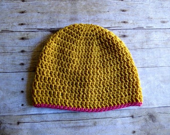 CLEARANCE Mustard Yellow and Pink Crochet Beanie - Womens Beanie - Womens Hat - Basic Beanie - Winter