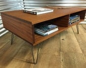 QUICK SHIP-Cameron mid century modern coffee table with storage, featuring sapele mahogany with hairpin legs.