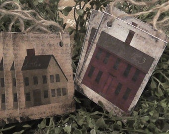Primitive House 1803 Red & Grey Saltbox Hang Tags