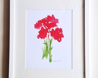Abstract Red Flowers Watercolor Print