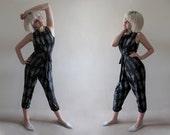 Hand Printed Jersey Wrap Harem Jumpsuit - 'Tarot' print - Black