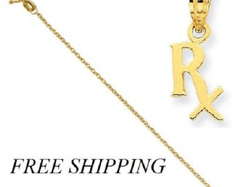 14k Prescription Symbol RX Pendant with 14k Chain