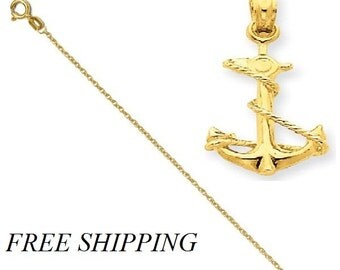 14k 3-D Anchor with Rope Pendant with 14k Chain