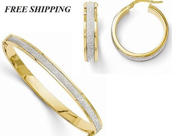 14k Fancy Glimmer Infused Hinged Bangle and Hoop Earring Set, 30 day money back Guarantee!