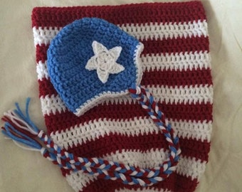 4th of July Newborn Cocoon and Beanie Photo Prop