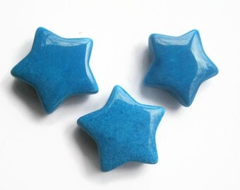 30mm Blue Howlite Star, 1 (One) Gemstone Star, 1 1/4 inch Blue Crystal Pocket Star, Metaphysical Supply, Chakra Stone, Reiki