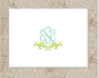 Monogrammed Folded notes or cards  - 25 cards & envelopes