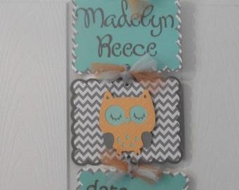 Owl Hospital Banner- Baby Girl Hospital Door Banner- Girl Baby Shower - 3 cards