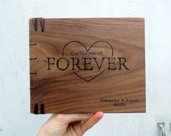 Rustic wedding anniversary book with heart / wood covered anniversary gift - one year anniversary