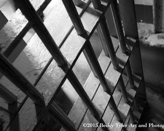 Alcatraz Cell Bars, Black and White Photography, Fine Art Photo Print