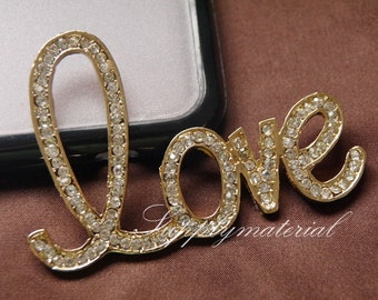 1PCS Bling crystal Big golden LOVE Flatback Alloy jewelry Accessories materials supplies