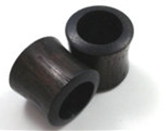 Pair of Black Arang Tunnel Wood Plugs