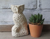 Owl Statue Vintage White Distressed Cottage Chic Decor